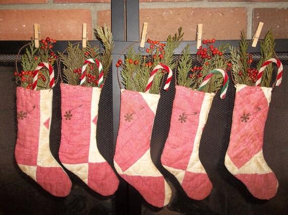 Primitive Handmade Antique Cutter Quilt Stocking Ornaments/Bowl Fillers