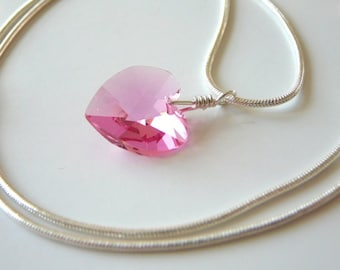 Light Rose Swarovski heart pendant and Sterling silver snake chain - Pink heart necklace - Free shipping to CANADA and USA