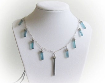Sterling Silver Blue Quartz and Tourmaline Crystal Necklace