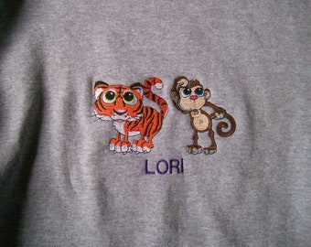 Personalized embroidered sweatshirts and T-shirts