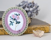 vintage botanical bouquet brooch - victorian - sage green and lilac - free shipping