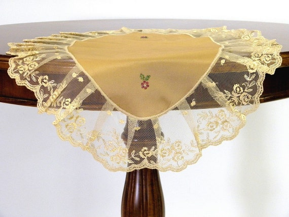 Table Napkin golden beige Oval with French Lace and Swarovski crystals