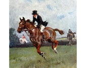Horse Fridge Magnet - Fox Hunting Riders Gallop Over Fences