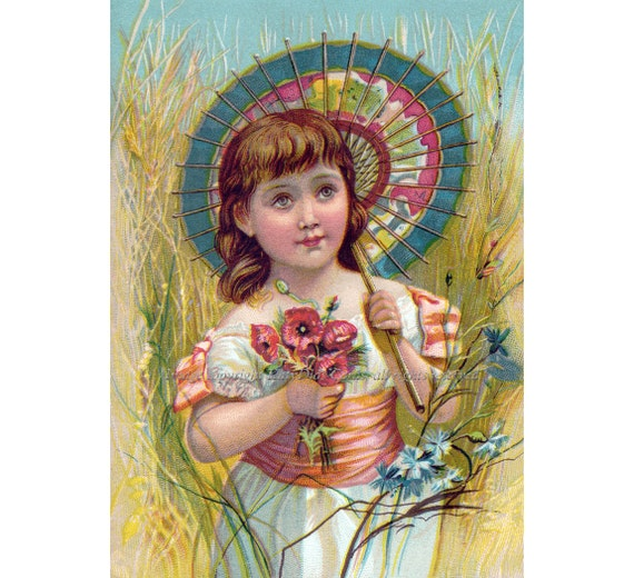 Girl with Parasol Greeting Card Poppy Flowers Repro Vintage Image