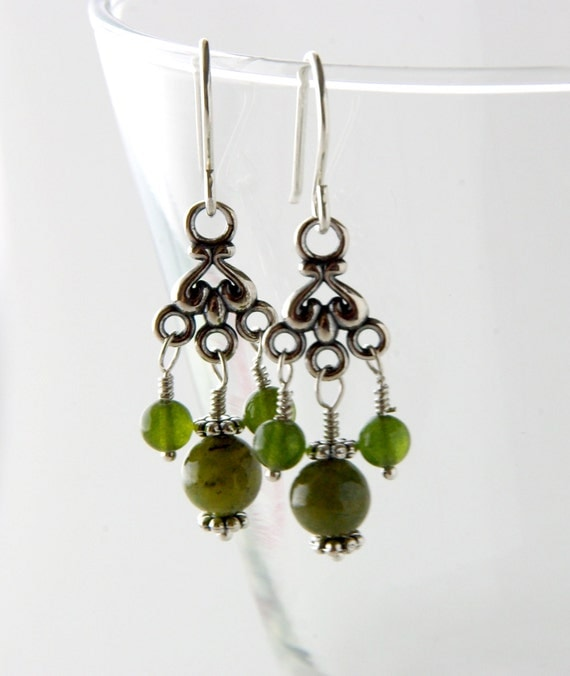 Silver with Green Garnet Victorian Style Chandelier Earrings, Steampunk, Shabby Chic, Art Nouveau Bohemian Dangle Earrings, Boho Elvish