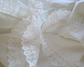 Vintage French Gorgeous Pristine Crisp Pure Cotton Quilt Cover With Broderie Trim Decorative Bedcover Cot Cover