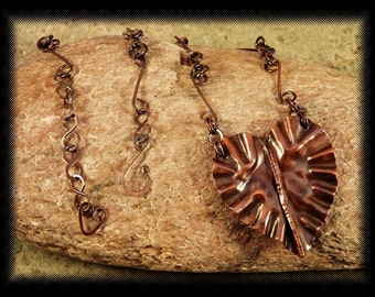 Heart Necklace, FoldFormed Copper With Hand Fabricated Chain.
