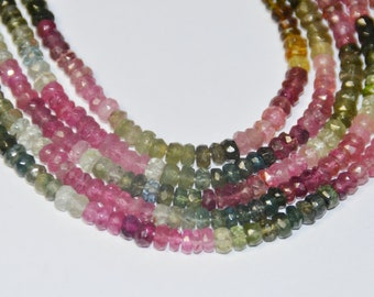 """7"""" 3mm AA Watermelon Tourmaline Faceted Beads"""