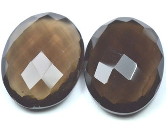 28mm 76ct  oval pair Smokey Quartz checker cut  faceted gemstone 28 by 21 by 9mm deep