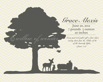 Birth Announcement Print - Silhouette with Scripture
