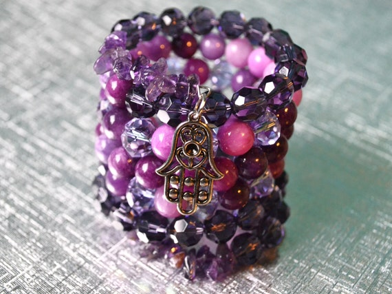 Beaded Stack Bracelet with Purple Stones and Hamsa Charm