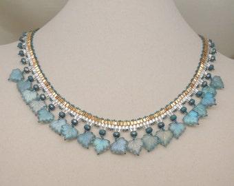 Beaded Aqua Leaf Bib Necklace
