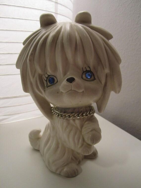 Discoloration Around Eyes: Japanese LEGO Ceramic Vintage Dog Bank
