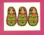 THREE MATRYOSHKAS - Blank Greeting Card