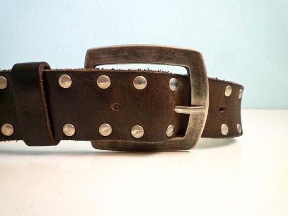 Vintage Leather Rivet Steampunk Punk Belt Brown Silver Buckles