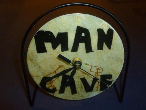 Man Cave Clock : Man cave recycled cd clock art