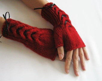 RED and BLACK...Fingerless Gloves, Wool Mittens, Arm Warmers with cable pattern and satin ribbon