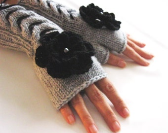 GRAY  and BLACK..Fingerless Gloves, Wool Mittens, Arm Warmers with cable pattern ,  flowers and satin ribbon