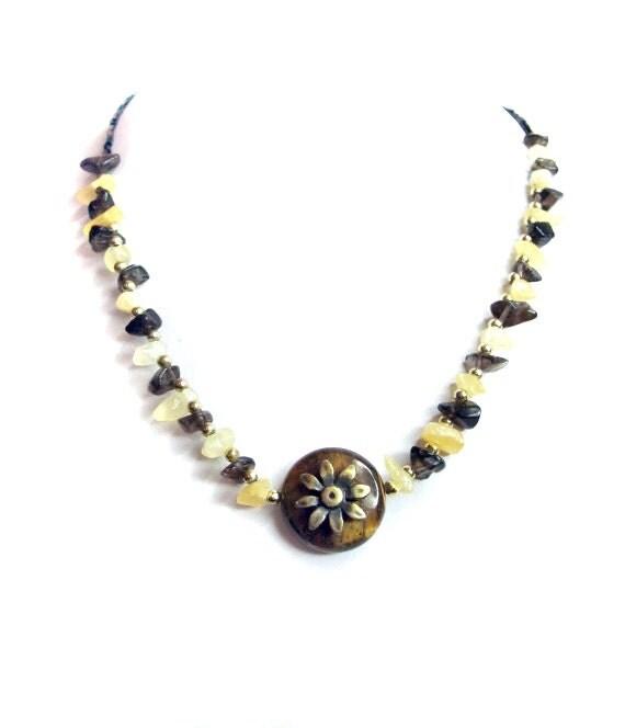 Tiger eye citrine necklace