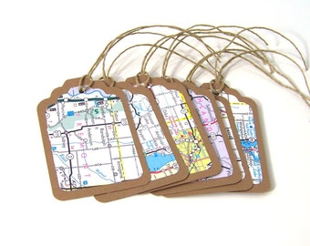 Upcycled Map Gift Tags  //  Ecofriendly  //  set of 6