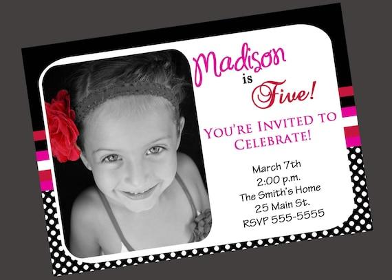 Girls Birthday Invitation Black White Pink (Printable )Digital File