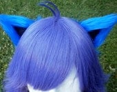 Royal Blue and Black Clip on Cat Ears