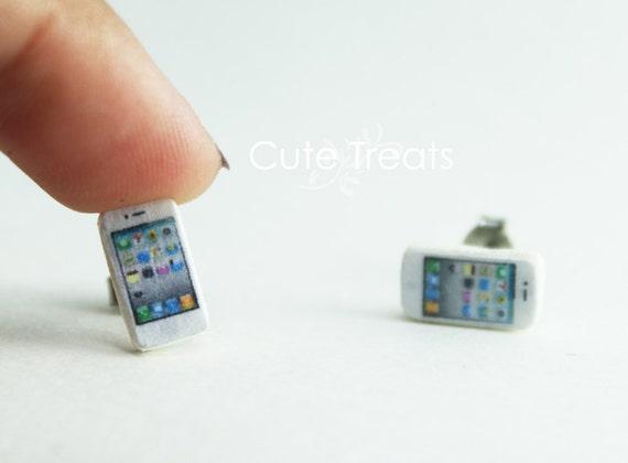 Iphone Stud Earrings (White)