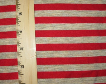 """Apx. 3/8"""" Red & Heathered Oat Stripe Knit Fabric"""