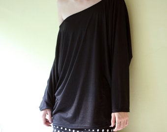 Black cotton oversized kimano type shirt, tunic