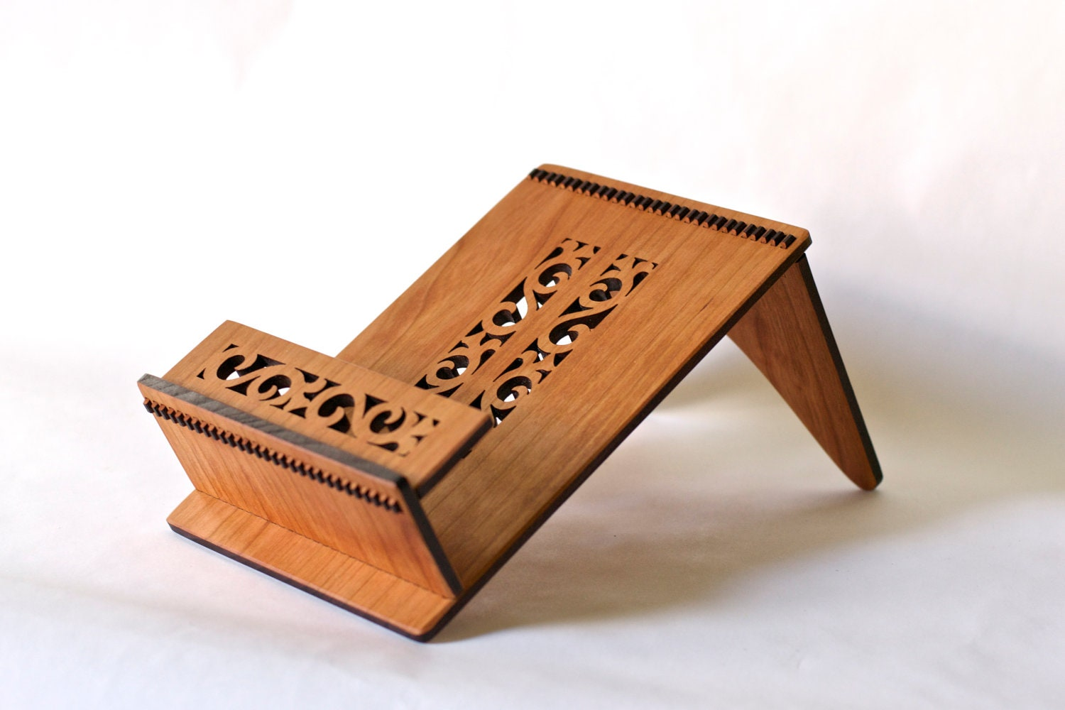 Cherry Wood Cook Book Stand Flower