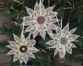 Beige Lace Snowflake Christmas Ornament Set of Three Different Button Centers