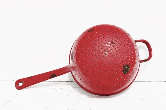 Red French Enamelware Colander