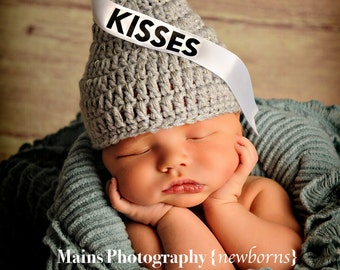 Hershey's Kisses Inspired Beanie Grey Silver Sparkly Newborn and up
