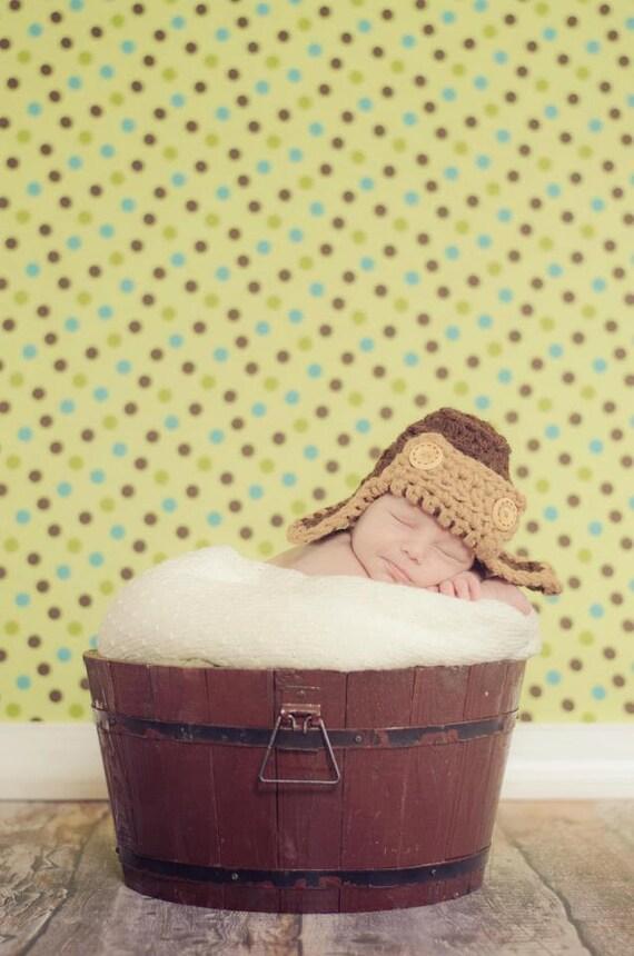 Chunky Aviator Hunter Beanie Newborn Brown Tan Photo Prop First Photo