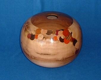 Hollow form, Oregon myrtlewood and walnut