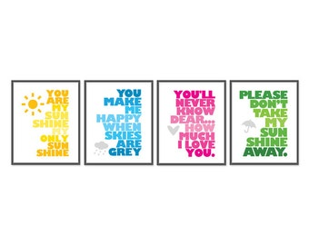 You are my sunshine - Set of Four 8x10 prints - Light Yellow, Light Blue, Pink, Light Green