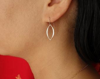 Hammered Marquis Dangle Earrings in Sterling Silver, Drop Earrings, bridesmaid gift, wedding jewelry