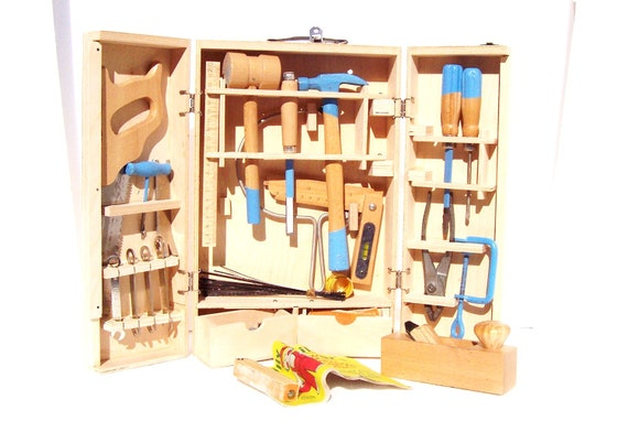 Vintage Billy Builder's Tool Box Set For Young Carpenters and Mechanics Real Tools For Teaching Children