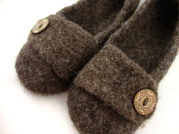 Bark Womens Felted Wool Slippers