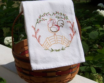 Embroidered Tea Towel/Kitchen Dish Towel Prideful Rooster