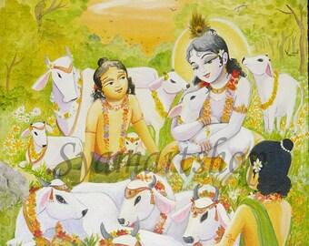 original painting by syamarts Krishna and Balaram with the cows in Vrndavana. Prints available