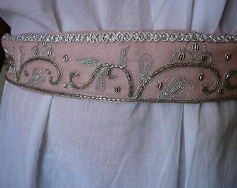 Belt, hand embroidered, glass bead work, silver on pink, tie belt, silver fairy belt, party belt