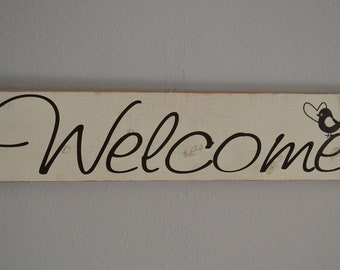 Distressed Welcome Wall Hanging Creme and Brown