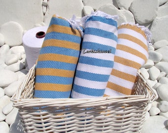 Turkishtowel-Soft-Highest Quality Pure Organic Cotton,Hand Woven,Bath,Beach,Spa,Yoga,Travel Towel or Sarong-Turquoise and White  Stripes