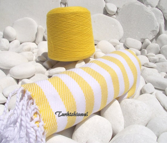 Turkishtowel-Soft-Best Quality Pure Cotton,Hand Woven,Bath,Beach,Spa,Yoga,Travel Towel or Sarong-Yellow and White Stripes