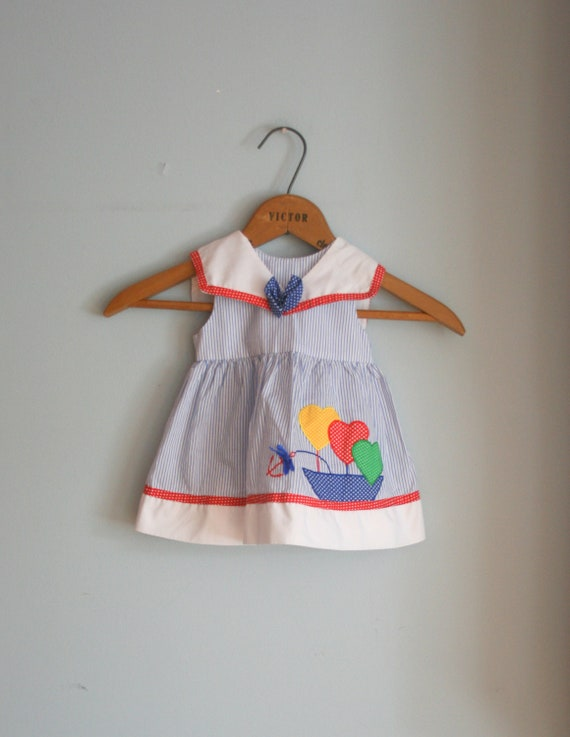 60s POLKA DOT HEARTS Dress....size 6-9 months girls.....kids. children. girls. 60s dress. balloons. hearts. stripes. anchor. sailor. ship