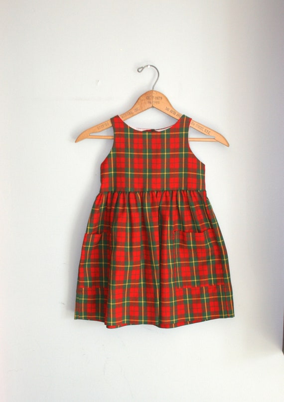 Vintage Red Plaid Girls Dress Size 4 By Retroandme On Etsy