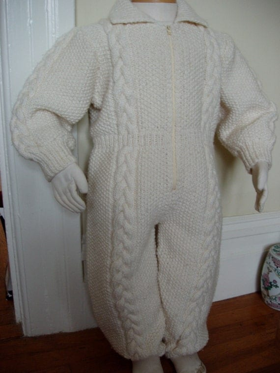Irish Aran  Hand Knitted Toddlers Snow/Play/Travel suit 2-4 years