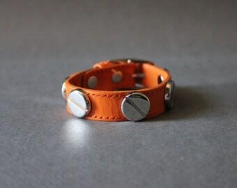 French Stud Leather Bracelet-Medium Size (Orange)