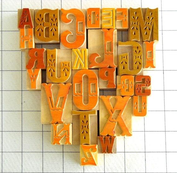 A to Z - 26 Designer Wooden Type - Symphony Series - DIY - MV64